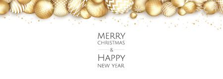 Banner with Christmas balls and stars. Great for New year party posters, headers. Stock Illustratie