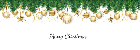 Banner with Christmas balls and stars. Great for New year party posters, headers. Illustration