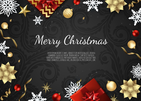 Christmas vector background. Creative design greeting card, banner, poster. Top view gift box, xmas balls, stars and snowflakes Vector Illustration