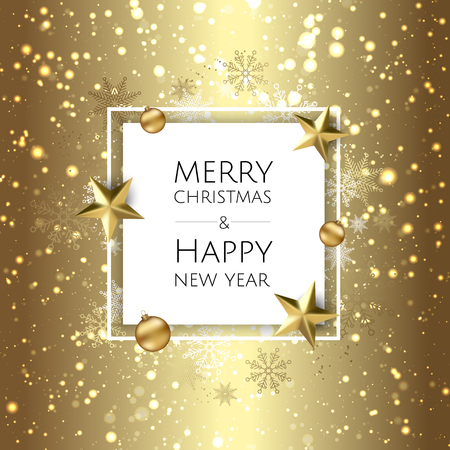 Christmas bright background with golden Xmas decorations. Merry christmas greeting card