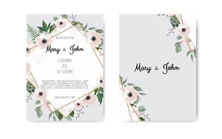 Invitación de boda, invitación. Diseño de plantilla de tarjeta de invitación de boda botánica, flores blancas y rosadas. Conjunto de plantillas vectoriales