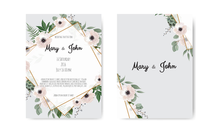 Wedding invite, invitation. Botanical wedding invitation card template design, white and pink flowers. Vector template set Çizim