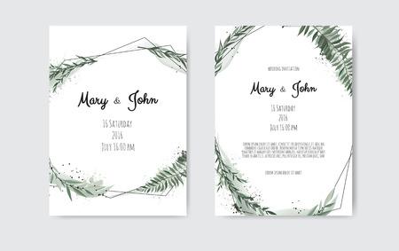 Conjunto de tarjeta con hojas y marco geométrico. Cartel floral, invitar. Vector tarjeta de felicitación decorativa, invitación diseño de fondo. Ilustración de vector
