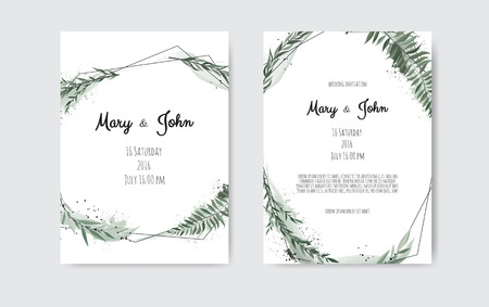 Set of card with leaves and geometrical frame. Floral poster, invite. Vector decorative greeting card, invitation design background. Vettoriali