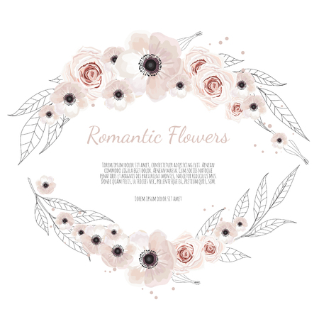 floral banner isolated on white background. Healing Herbs for cards, wedding invitation, posters, save the date or greeting design.