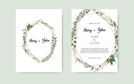 Botanical wedding invitation card template design, white and pink flowers on white background