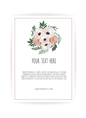 Vector floral design card. Greeting, postcard wedding invite template. Elegant frame with rose and anemone. Stock Vector - 124632375
