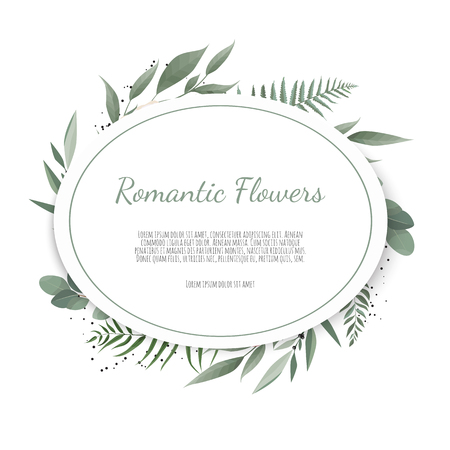 Vector floral design card. Greeting, postcard wedding invite template. Elegant frame with rose and anemone. Stock Vector - 124588702