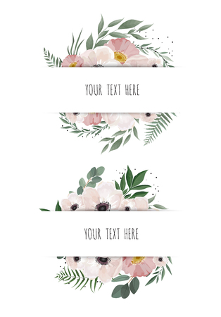 Horisontal botanical vector design banner. Pink rose, eucalyptus, succulents, flowers, greenery. Healing Herbs for cards, wedding invitation, posters, save the date or greeting design.