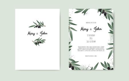 Botanisches Hochzeitseinladungskarten-Vorlagendesign mit Olivenzweig.