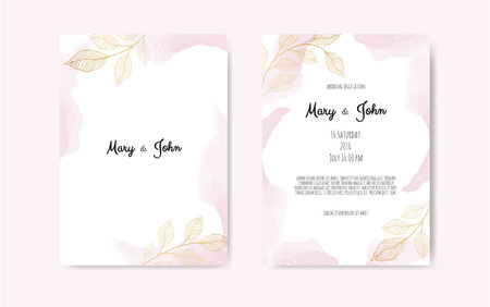 Wedding invite with abstract watercolor style decoration in light tender dusty blue color on white background.