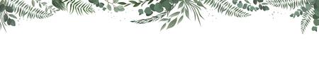 Horisontal botanical design banner. Pink rose, eucalyptus, succulents, flowers, greenery. Natural spring card or frame 写真素材