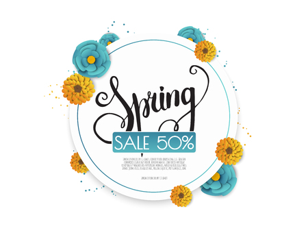 Spring sale banner with paper flowers on a white background