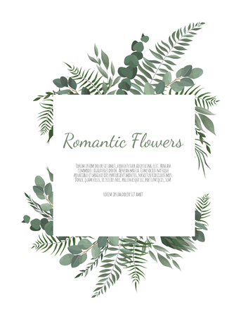 Floral wreath with green eucalyptus leaves, flower rose, anemone . Frame border with copy space Imagens - 122589583