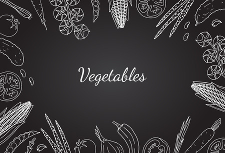 Vegetables hand drawn style white color on black background.