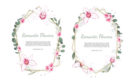 Floral vector frame with orchid and garden flowers.