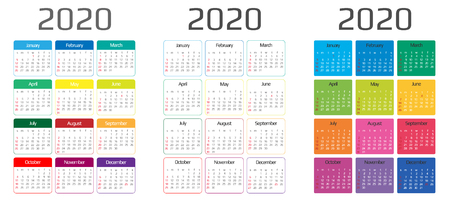 Calendar 2020 template. 12 Months. include holiday event. Week Starts Sunday Illustration
