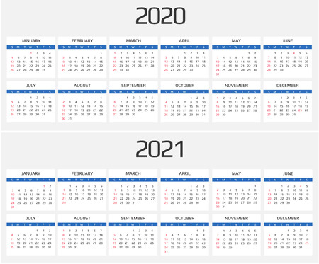 Calendar 2020 And 2021 Template  12 Months  Include Holiday