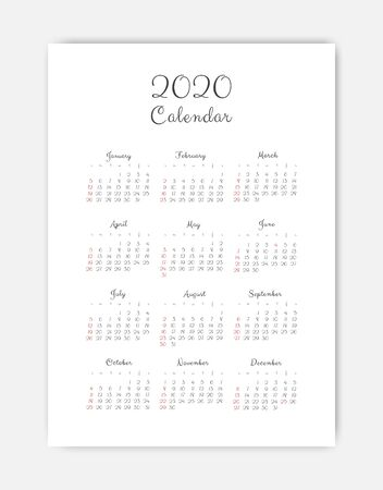 Calendar 2020 template. 12 Months. include holiday event. Week Starts Sunday