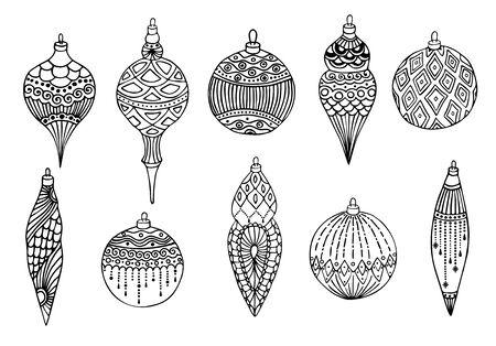 Set of Christmas hand drawn balls. Isolated on white background. Vector illustration Illusztráció
