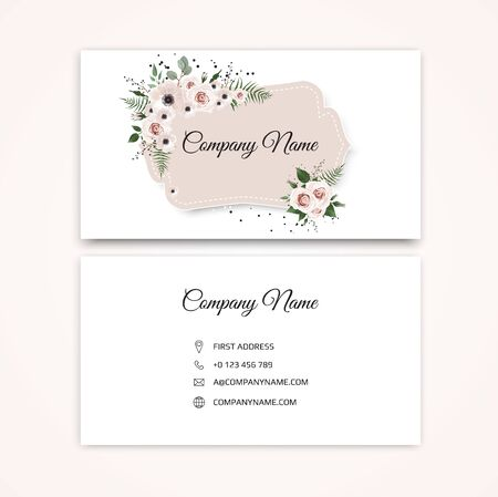 Set of Business card with beautiful flowers. Template Foto de archivo - 131578832