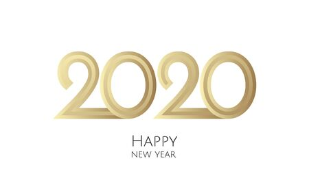 Happy New Year 2020 text design. Brochure design template, card, banner.