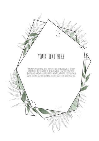 Vector floral design card. Greeting, postcard wedding invite template.