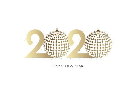 Happy New Year 2020 golden text design with christmas balls.