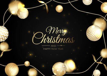 Christmas vector background. Xmas sale, holiday web banner. Design christmas decorations with christmas balls, ribbon, star, snowflake.