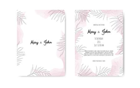 Wedding invite with abstract watercolor style decoration in light tender dusty pink color on white background