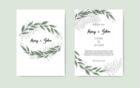 Vector floral design card. Greeting, postcard wedding invite template. Elegant frame with rose and anemone