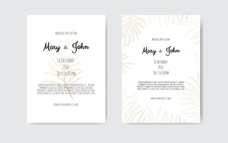 Vector invitation with gold floral elements. Luxury ornament template. greeting card, invitation design background