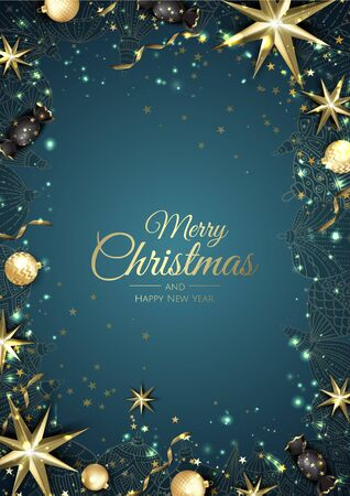 Merry Christmas background with christmas element. Vector illustration Banque d'images - 133158163