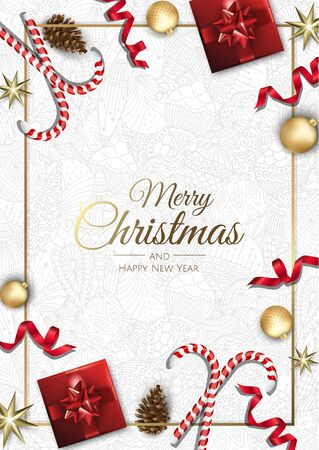 Merry Christmas background with christmas element. Vector illustration Banque d'images - 133158183
