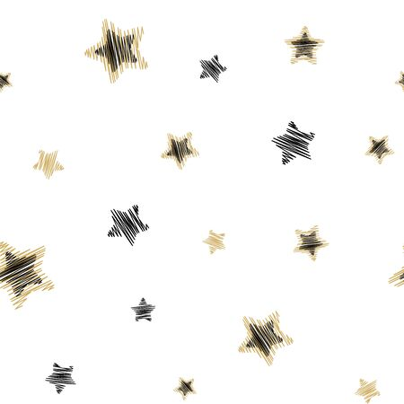 Holiday background, seamless pattern with stars. Vector illustration.  イラスト・ベクター素材