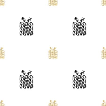 Holiday background, seamless pattern with present. Vector illustration. Иллюстрация