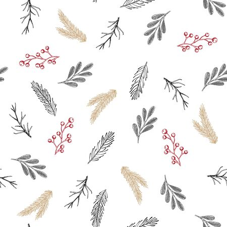 Xmas Seamless pattern with Christmas Tree Decorations, Pine Branches hand drawn art design vector illustration.
