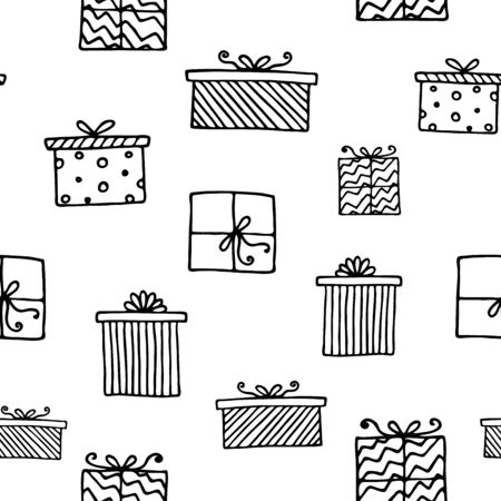 Seamless vector pattern with gift boxes. Wallpaper, textiles, wrapping, card, print on clothes