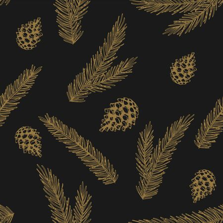 Seamless pattern with Christmas Tree Decorations hand drawn art design vector illustration.