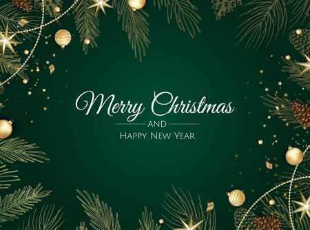 Christmas greeting card with Christmas balls , snowflake and confetti.
