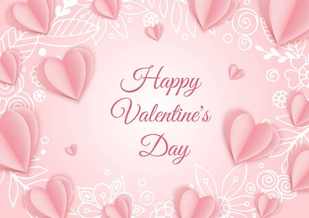 Valentine s day concept background. Pink paper hearts. Cute love sale banner or greeting card