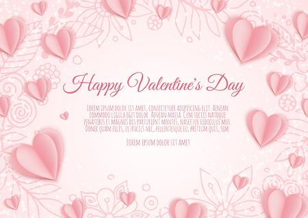 Valentine s day concept background. Pink paper hearts. Cute love sale banner or greeting card. Foto de archivo - 137887821