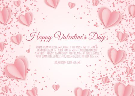 Valentine s day concept background. Pink paper hearts. Cute love sale banner or greeting card. Ilustrace