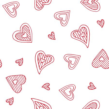 Cute doodle seamless pattern for st. Valentine s day with hearts