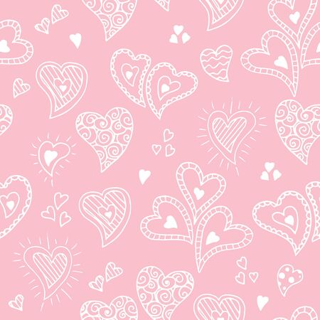 Cute doodle seamless pattern for st. Valentine s day with hearts Ilustração Vetorial