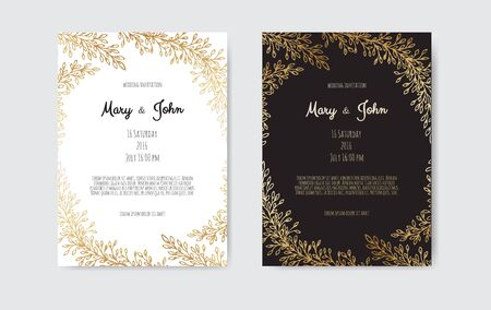 Vector invitation with gold floral elements. Luxury ornament template. greeting card, invitation design background. 向量圖像