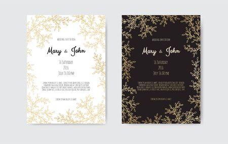 Vector floral design card. Greeting, postcard wedding invite template. Greeting card, invitation design background
