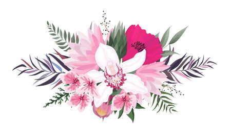 Vector flowers set. Colorful floral collection with leaves and flowers. Vector Flower bouquet.