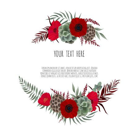 Vector floral design card. Greeting, postcard wedding invite template. Elegant frame with lotus and anemone Vectores