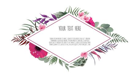 Vector illustration of a beautiful floral frame with geometric frame